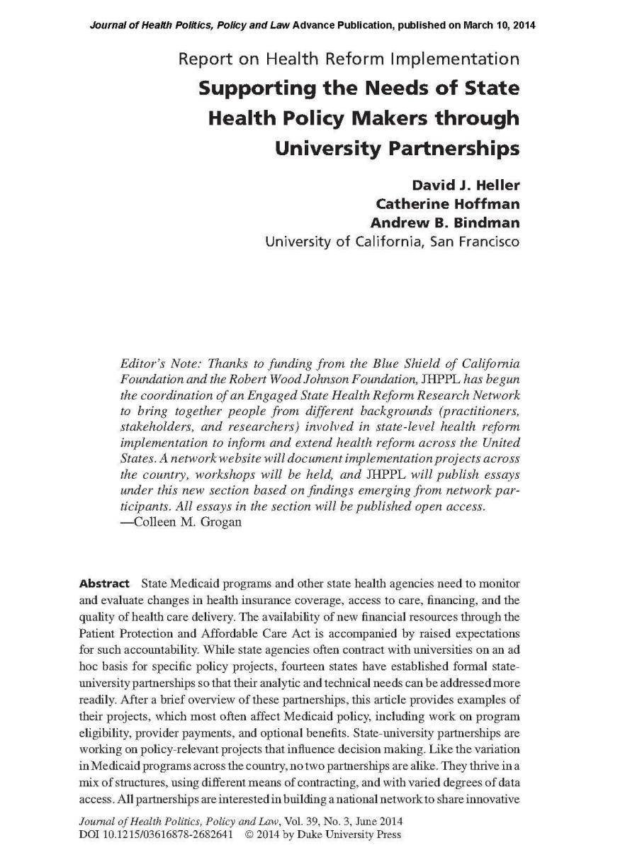 Supporting the Needs of State Health Policy Makers through University Partnerships