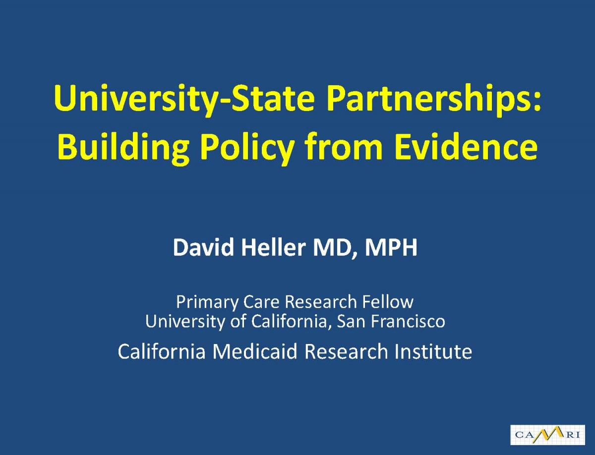 University-State Partnerships: Building Policy from Evidence